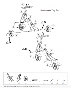 Kinderfeets RP Tiny Tot Balance Bike Double Wheel Axel and Instruction Manual Replacement Set