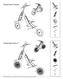 Kinderfeets RP Classic Balance Bike User Manual and Complete Hardware Bags Including Rear Axle (Old Model)